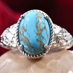 Mojave Blue Turquoise Ring in Platinum Bond Brass